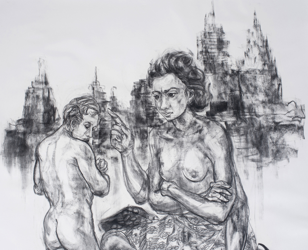 Jimmy ONG  Roro Rafflesia   (  莱佛士   - 后土)  (detail) 2015 Charcoal on paper H143 x W124 cm