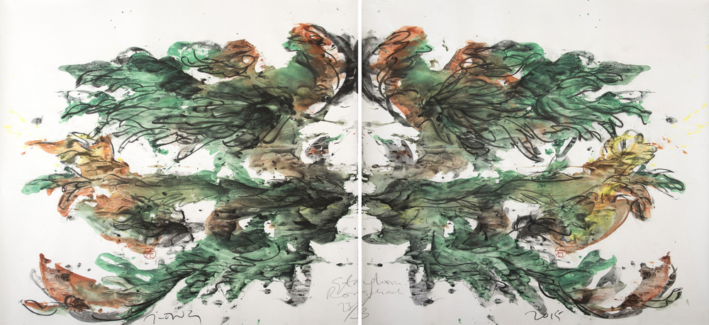 Jimmy ONG  Staghorn Rorschach  2015 Charcoal and color pigment on paper H122 x W241 cm
