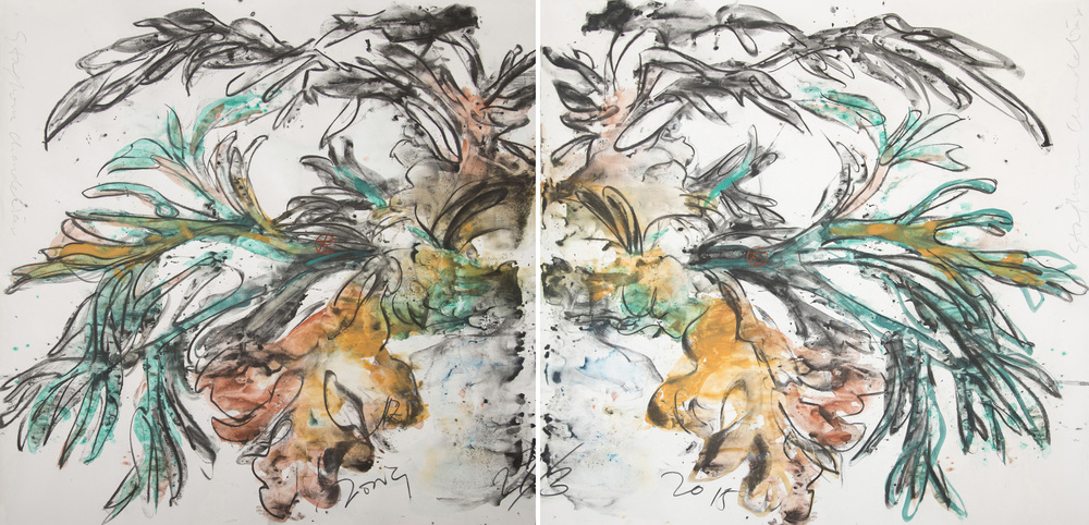 Jimmy ONG  Staghorn Chandelier  2015 Charcoal and color pigment on paper H110 x W218.2 cm
