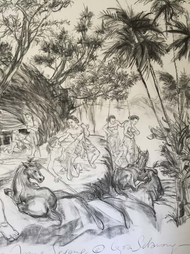 Jimmy ONG  Nyi Ageng Serang at Goa Selarong  (detail) 2016 Charcoal on paper H150 x W360 cm