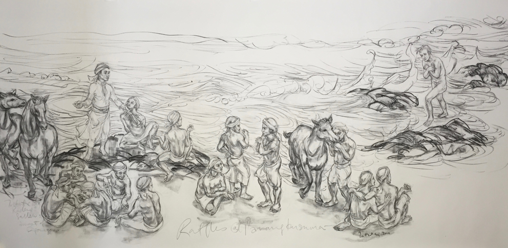 Jimmy ONG  Raffles At Parangkusuma - Labuhan  2016 Charcoal on paper approx. H128 x W313 cm