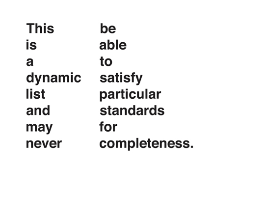 Dynamic List  2016 Appropriated Text Dimensions Adaptable Edition of 5