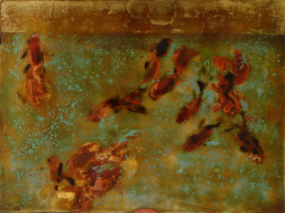 Aquarium 1      2007      Son ta  lacquer on wood  H30.3 x W40.2 x D1 cm