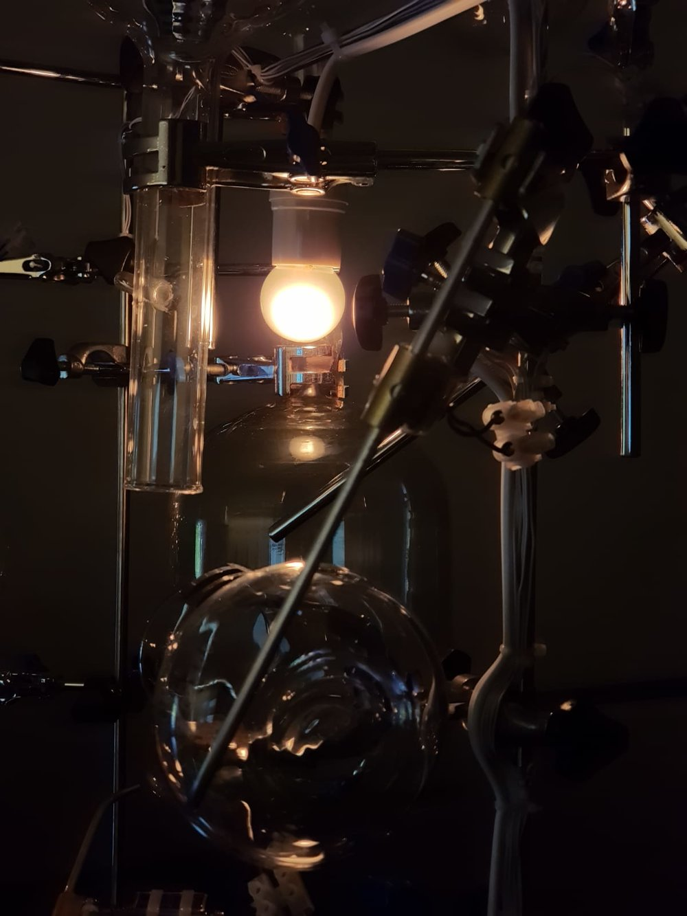 Zul MAHMOD  No Substance (Trunk) 1 to 5  (details) 2019 Solenoids, science apparatus, microcontroller, midi player and metal (10:00 mins) Dimensions variable