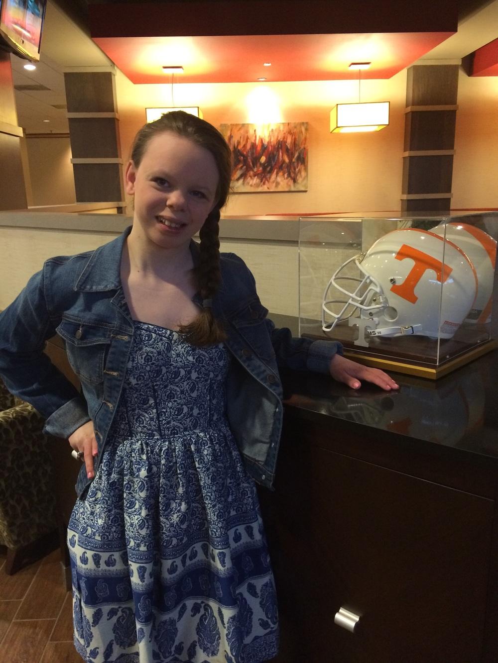 Chloe spotted a UT helmet - go figure!