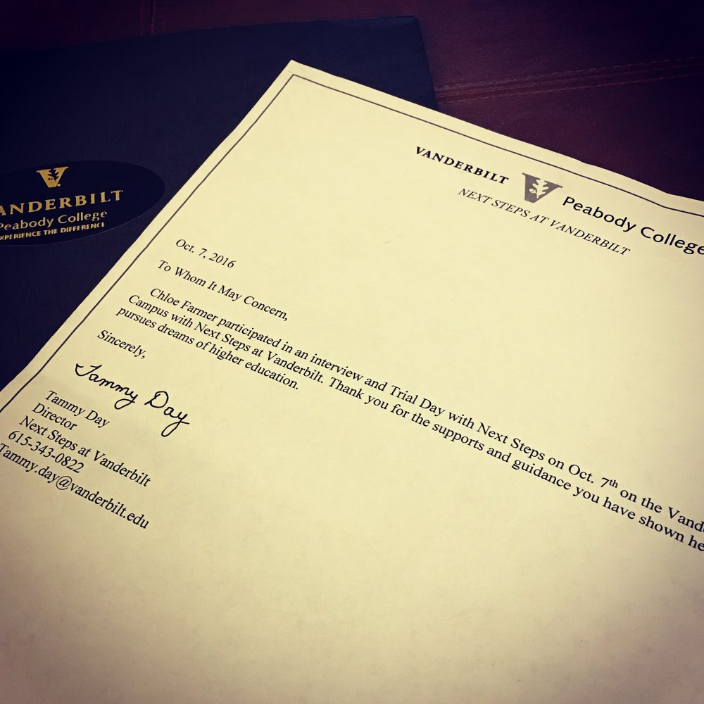 Our feedback from Chloe's trial day is that she remains a strong candidate for Vandy. We've got our fingers crossed, but we are encouraging Chloe to apply to additional programs as well.