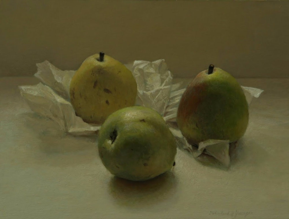 John Randall Younger, Three Pears . Oil on panel, 2013