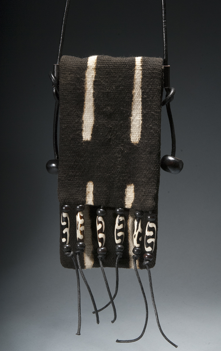9- Mildred Baldwin, Broken Stripes Pouch, Mud Cloth, Leather and Bone, 8%22x4', 2015 .jpg