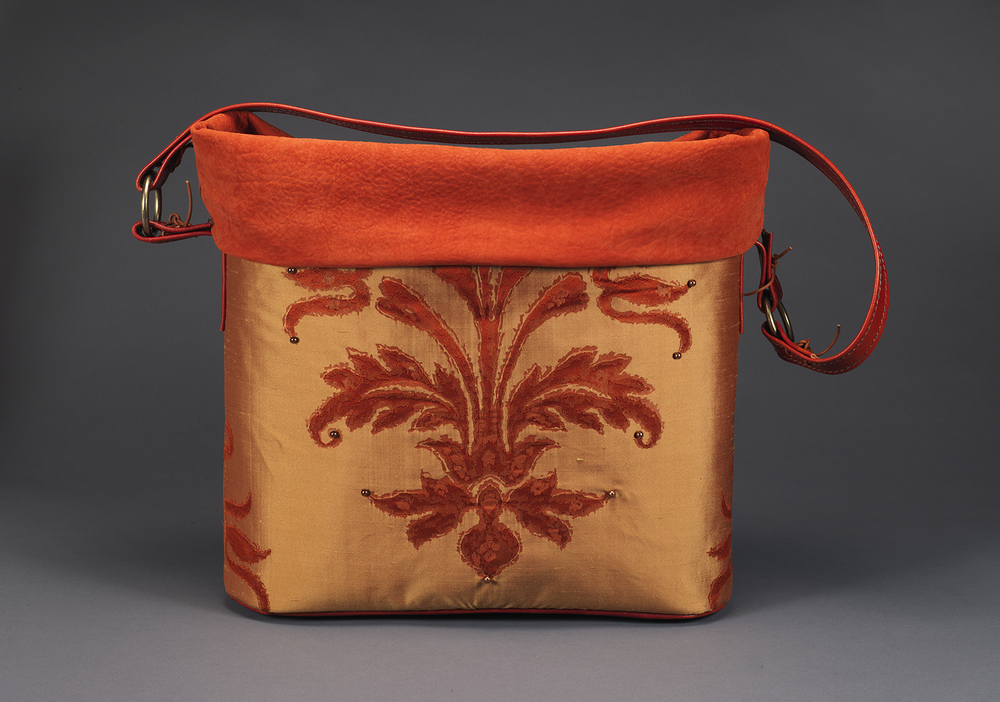 1- Mildred Baldwin %22Autum Spice%22 Silk, Leather, 23%22X 22%22X6, 2015.jpg