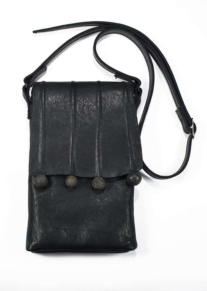 6-Mildred Baldwin, Spindal Bag, Leather, African Spindle Beads, Metal Rings, 12%22X8%22X1.5%22, 2014 2014.jpg