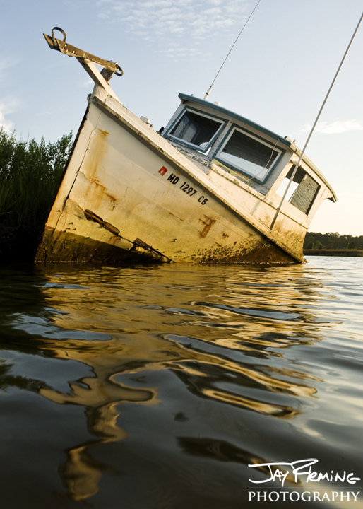 Derelict workboat. Lower Dorchester County, Maryland