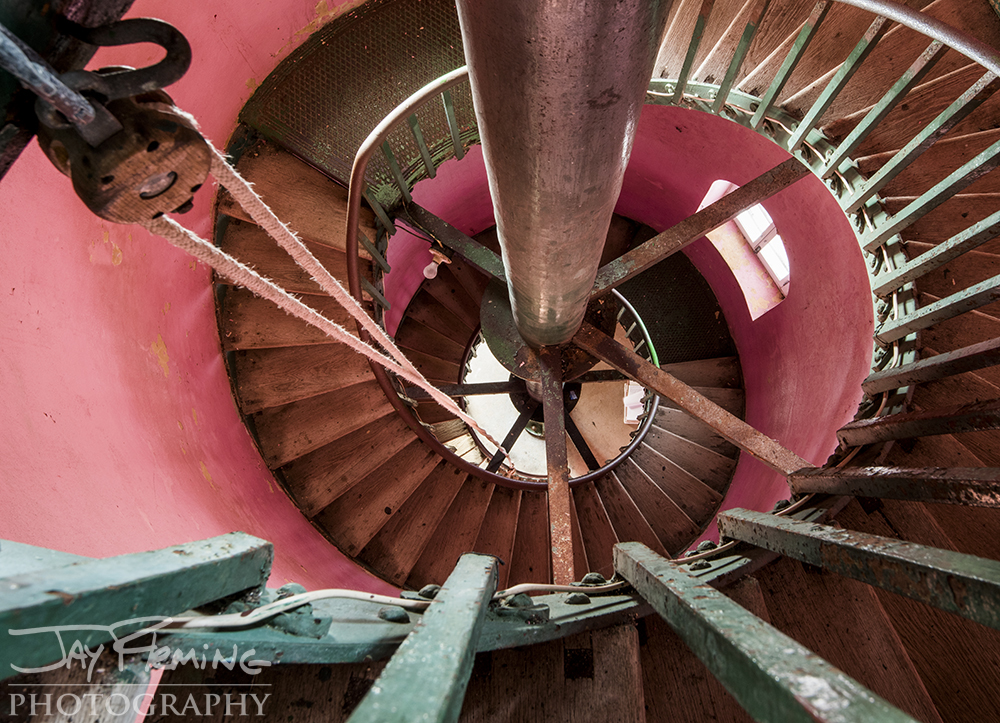 Two lighthouse keepers are currently sharing the duties of keeping the light lit and the lens spinning. They climb 101 steps to reach the lens room every two hours while the light is illuminated.
