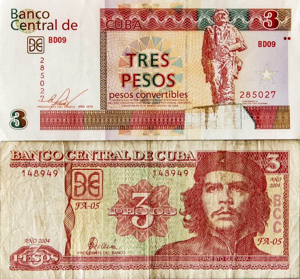 Convertible pesos are known commonly as CUC (top) and Cuban Pesos are referred to as CUP (bottom). Three CUC (top) are worth hold the same value as 75 CUP, the exchange rate is 1:25.