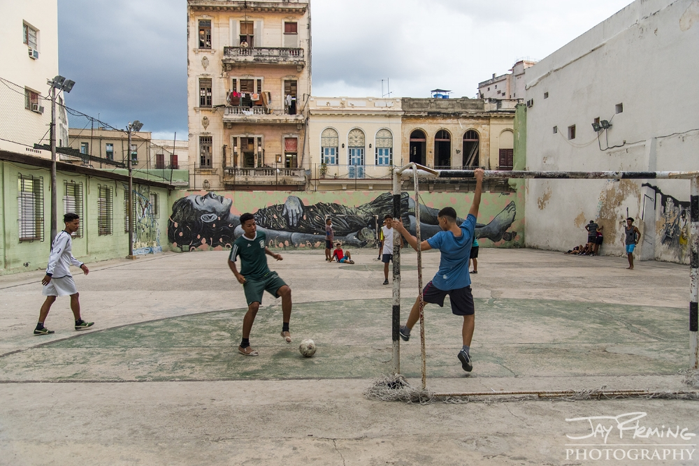 Urban parks are one of the few options for recreation in Havana. Soccer is extremely popular in Cuba as  it is the rest of latin America.