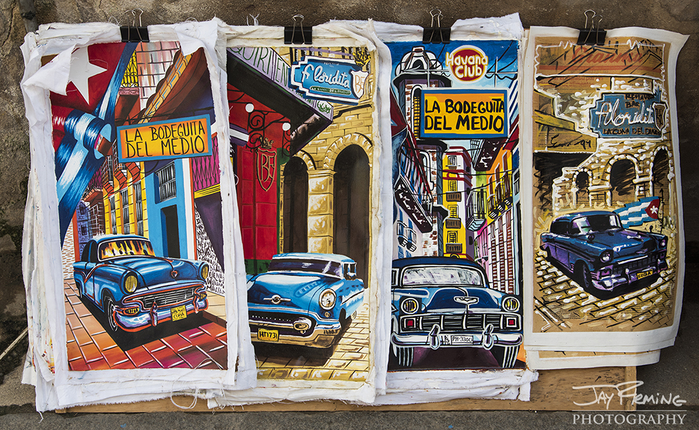 Classic cars and Havana architecture are common themes for artwork marketed to tourists. Galleries in Havana are abundant and carry art that all looks very generic - finding unique pieces was difficult but not impossible.