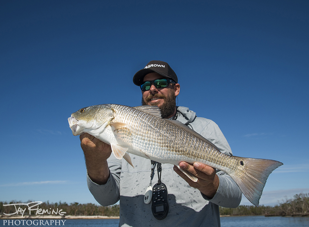 Florida angler, Andrew Wright with a Red Drum caught in Everglades National Park near the area where Hurricane Irma made landfall in September
