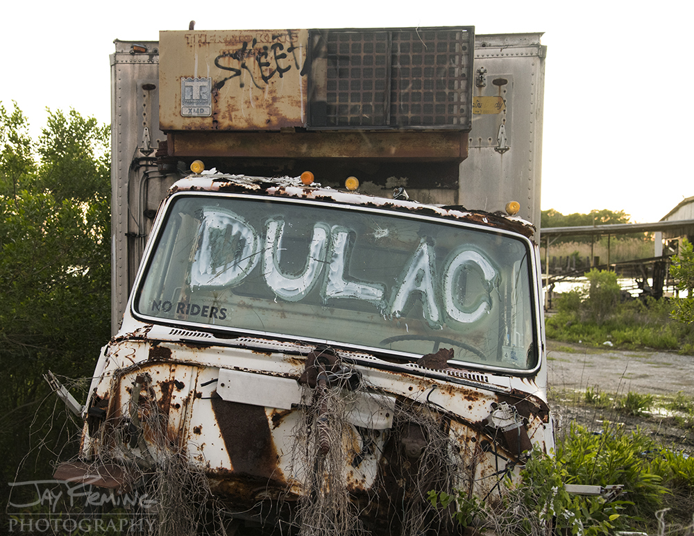 A derelict refrigerated truck at an abandoned Shrimp processing facility is reflective of the once thriving Shrimp industry Dulac.