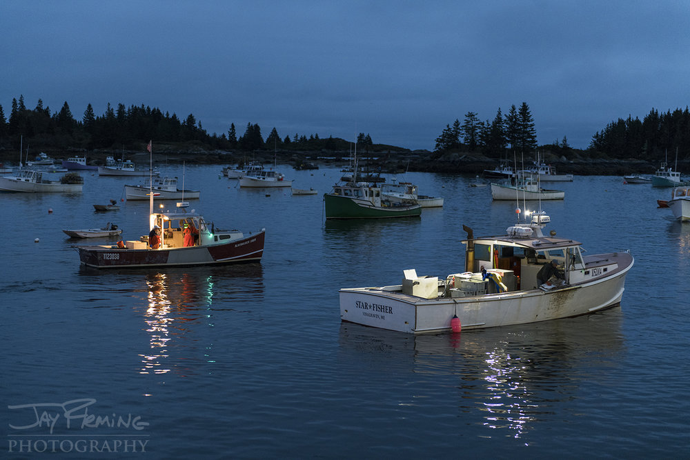 Workboats at dawn on Carvers Harbor.