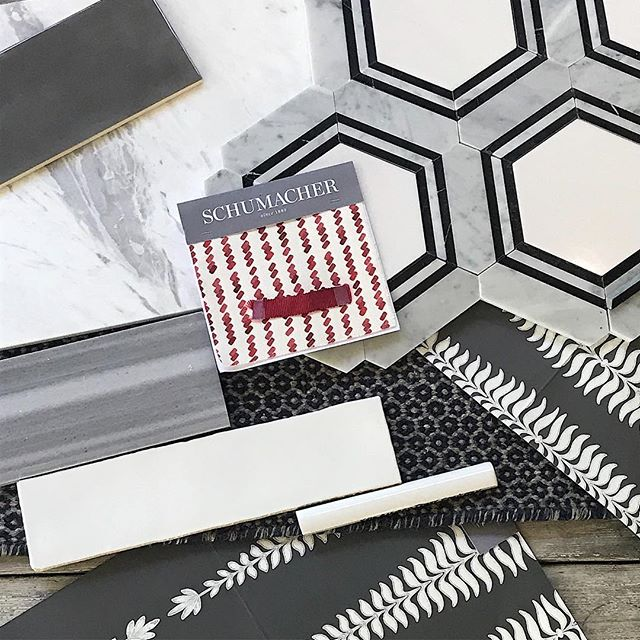 Chic surfaces for the master bath of our Gameday renovation. Taking it down to the studs... @schumacher1889 @georgiagamedaycenter #geometrictiles #godogs #mosaictile #spanishtiles #naturalstone #gamedaycondo #condodesign #athensgadesign #chicsurfaces
