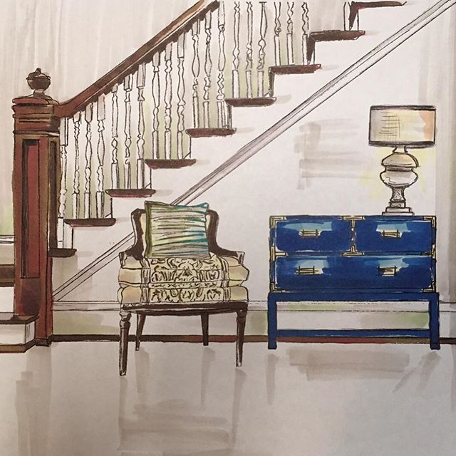 We love making conceptual renderings for clients.  Something about a hand-drawing communicates the feel of a space, more than detailed CAD output. Plus it's good to go old school every now and then. #lisaellisdesign #athensgeorgia #interiordesign #designdetails  #bestoftheday  #houseenvy #handdrafting #draftingdepartment #oldschooldesign