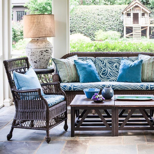 It's time for slowing down and taking advantage of some outdoor time on the porch.  We spruced up this sitting area with new tables and lamps and recovered the seating in fabric from Hable Construction and Galbraith and Paul's Perrenials Collection. All fabrics and custom workroom pieces available through Hawthorne House. ⠀⠀⠀⠀⠀⠀⠀⠀⠀ ••• @hableconstruction @perennialsfabrics  @galbraithandpaul @hawthornehouseinc #lisaellisdesign #athensgeorgia #interiordesign #designdetails  #bestoftheday  #porchliving #outdoorliving  #summertimesummertime #HHworkroom
