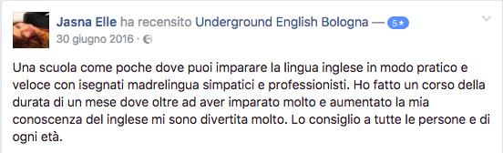 la recensione positiva di una studentessa del corso di inglese di underground english bologna per il corso intensivo estivo 2016