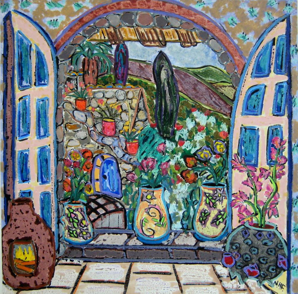 Three Pots in a Doorway, by Nan Hass Feldman.