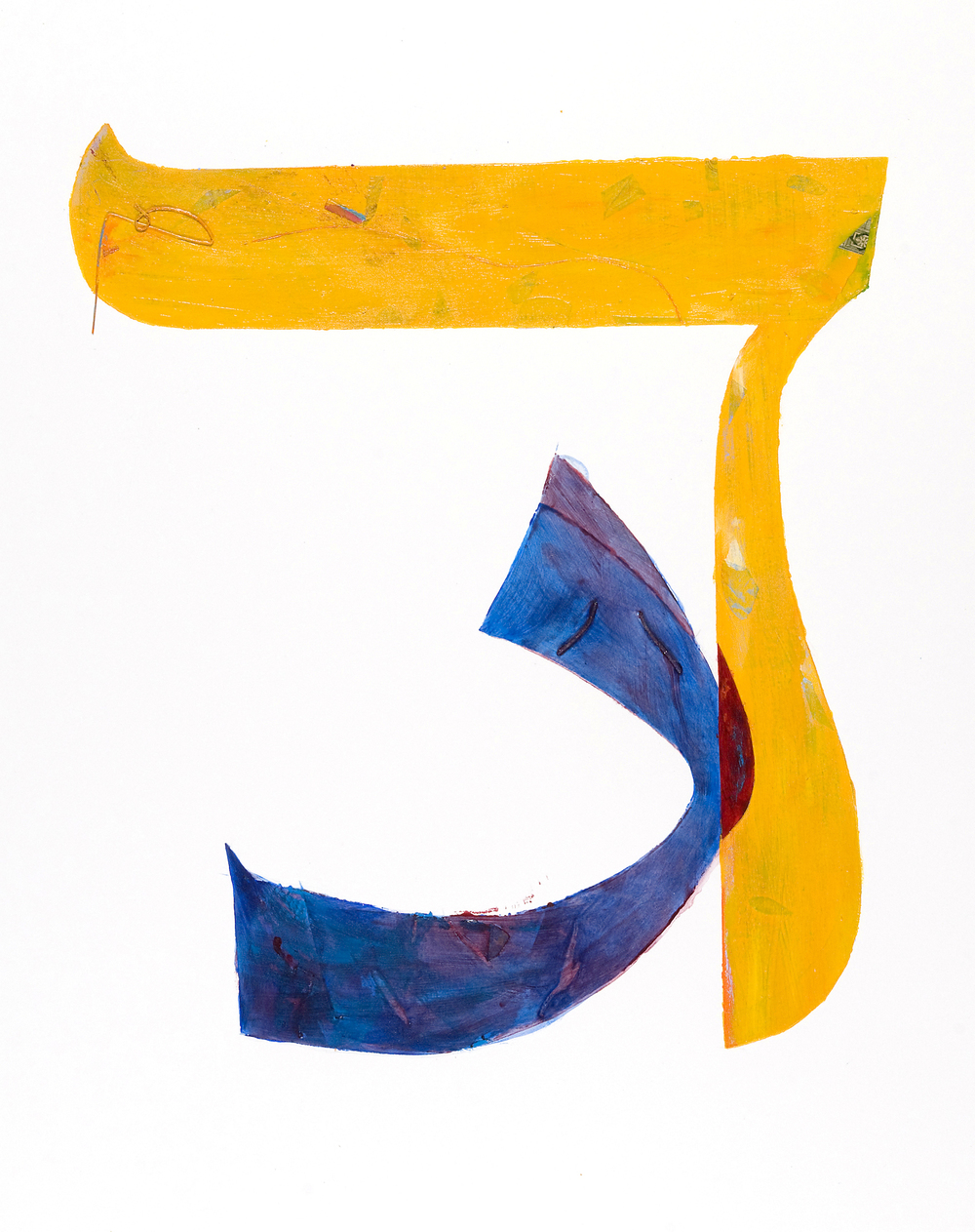 "Joel Moskowitz "" Dalet / Daal "" acrylic and collage on paper, 29""x22""  $850"