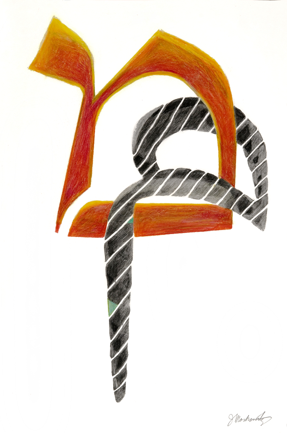 "Joel Moskowitz, "" Mem / Meem ,"" graphite and colored pencil, 8""x13,""  $350"