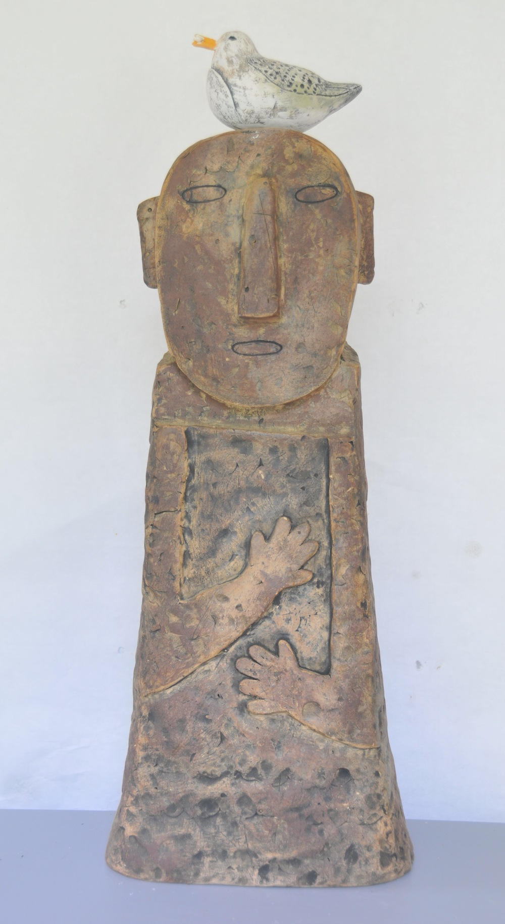 "Jaeok Lee  Guardian of the earth , Clay, 10""x7.5""x28.5"" $1500  SOLD"