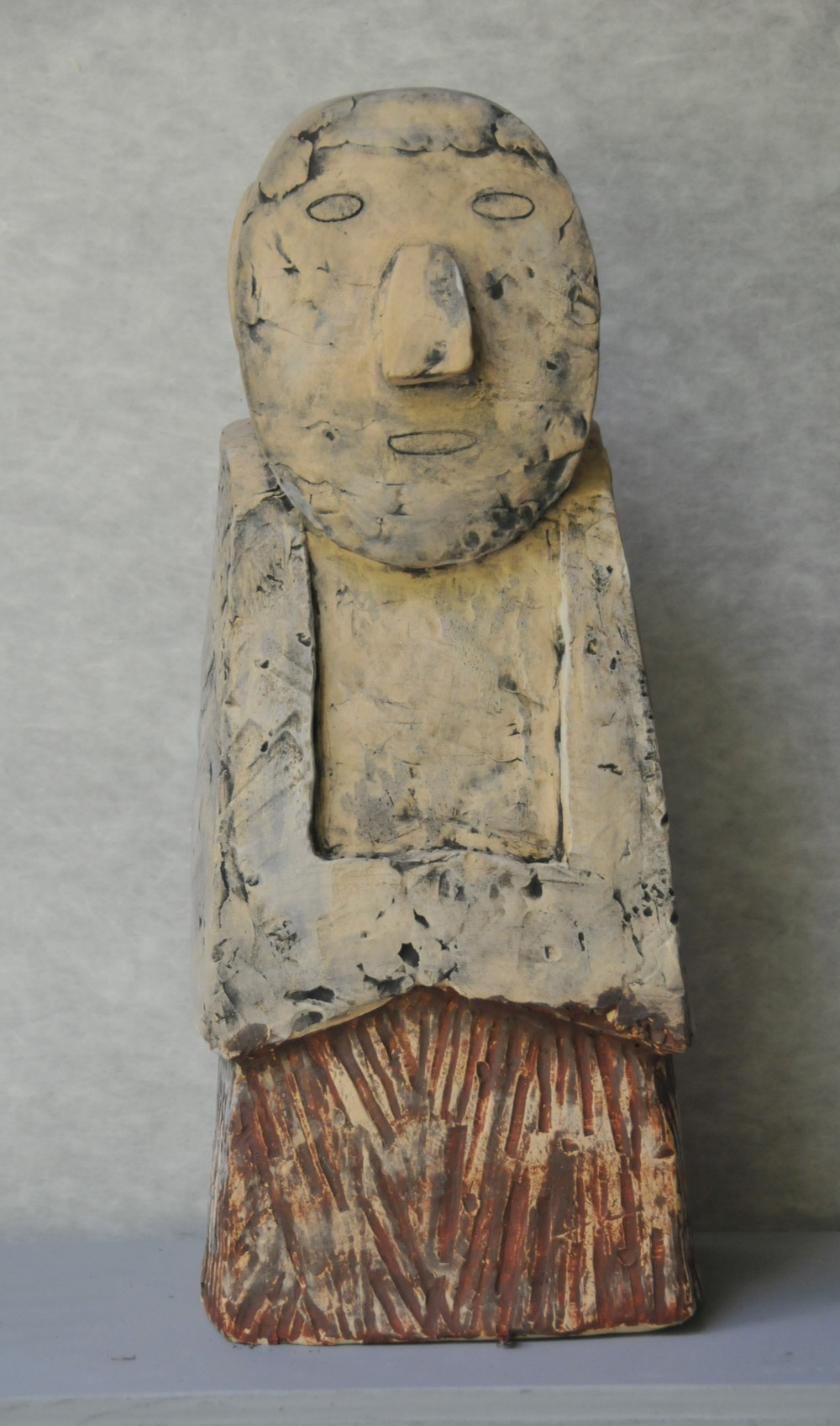 "Jaeok Lee  Guardian of innocence , Clay, 8.5""x8""x22""  $1200"