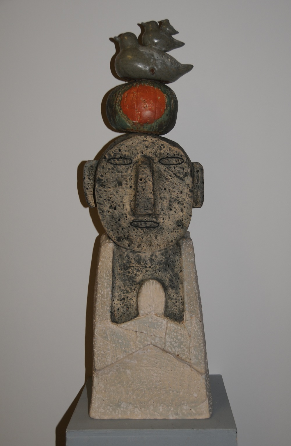 "Jaeok Lee  Guardian of prosperity , Clay, 9""x7.5""x30""  $1750  SOLD"