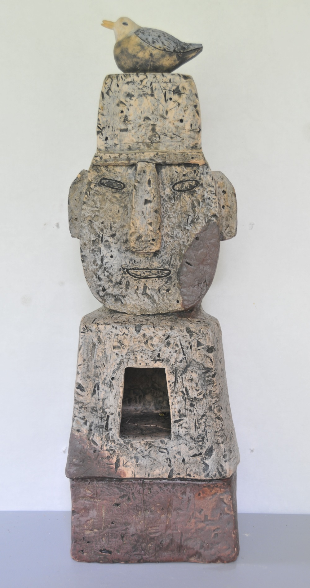 "Jaeok Lee,  Lantern Guardian with blue bird , Clay, 9""x8""x28""  $1500"