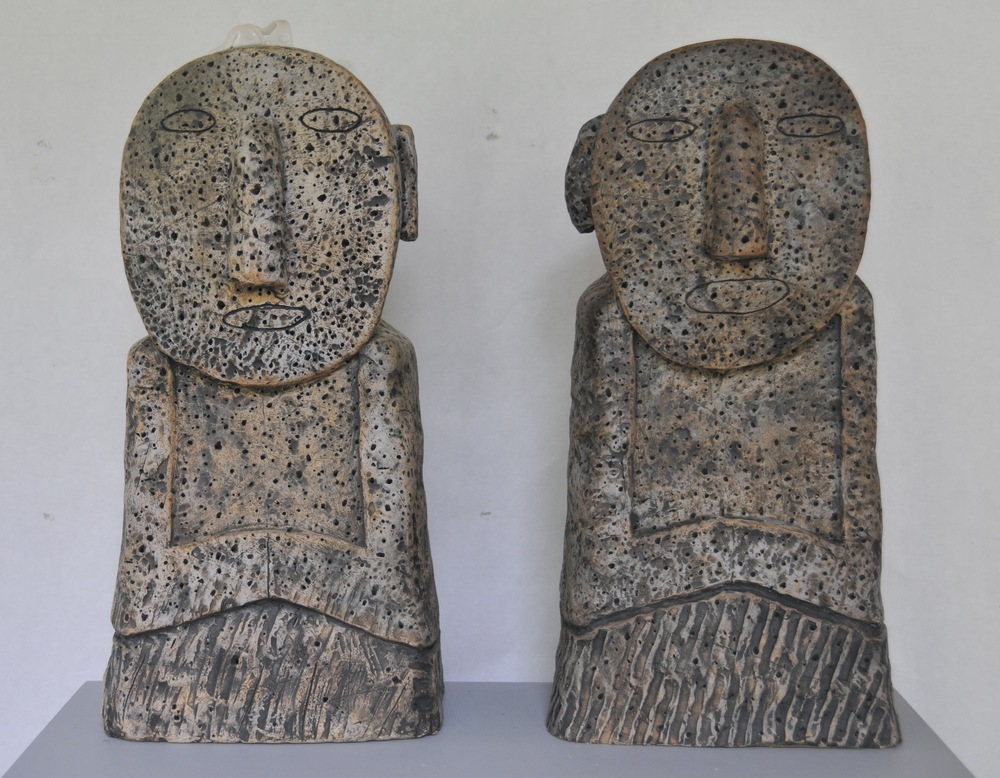 "Jaeok Lee  Guardians of creativity , Clay, 9""x7""x19"" , 9""x7""x20""  $1400 each"