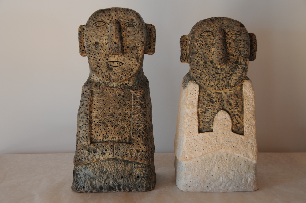 "Jaeok Lee  Guardians of yin and yang , Clay, 9.5""x7""x21"" ,  9""x8""x20""   $1400 each"