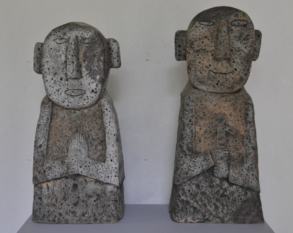 "Jaeok Lee  Guardians of family , Clay, 9""x7""x22"" , 9""x7x20""  $1400 each"