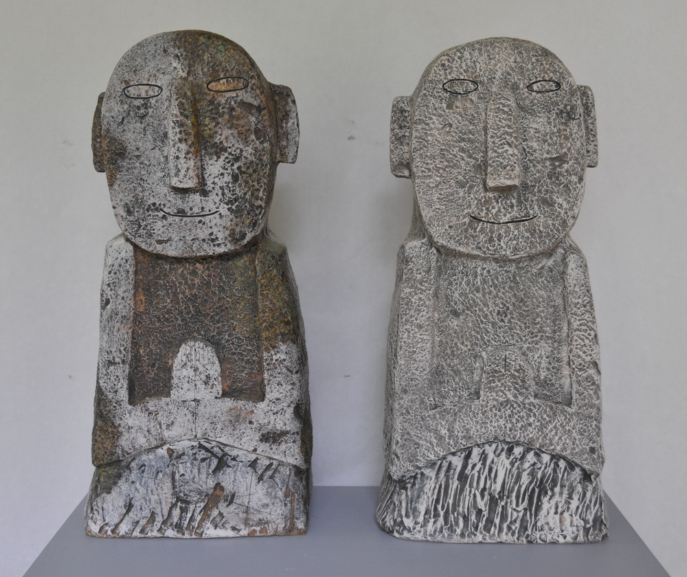 "Jaeok Lee  Guardians of dreams , Clay, 9""x7""x20"" , 9""x7.5""x20""  $1400 each"