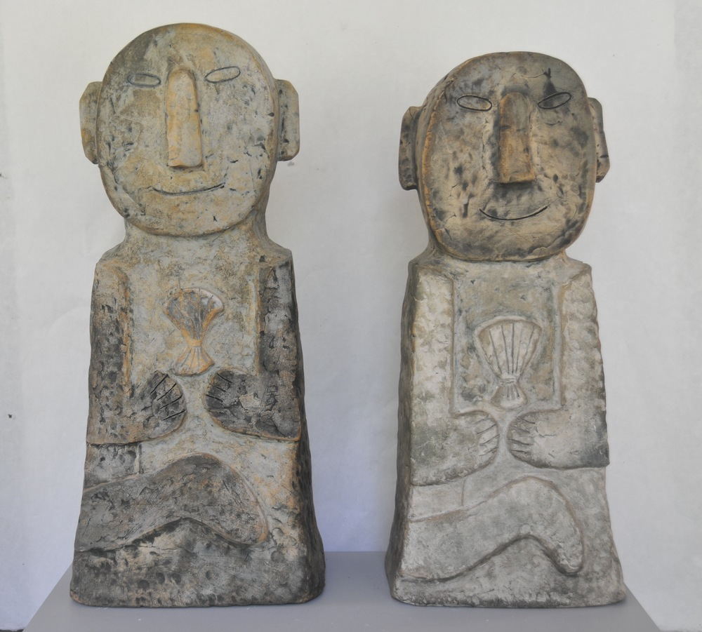 "Jaeok Lee  Guardians of play  Clay 10""x7.5""x23.5"" , 9""x8""x22""  $1500 each"