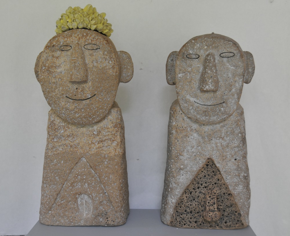 "Jaeok Lee Guardians of fertility #1, Clay, 9""x8""x25"", 9""x7""x23""  $1500 for 25,""  $1400 for 23"""
