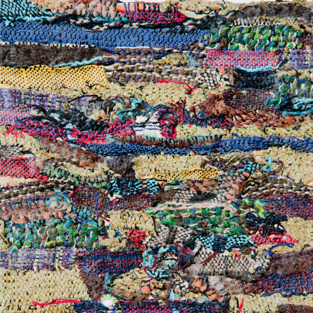 Woven Remnants #3   Handwoven fabric on board, 10x10
