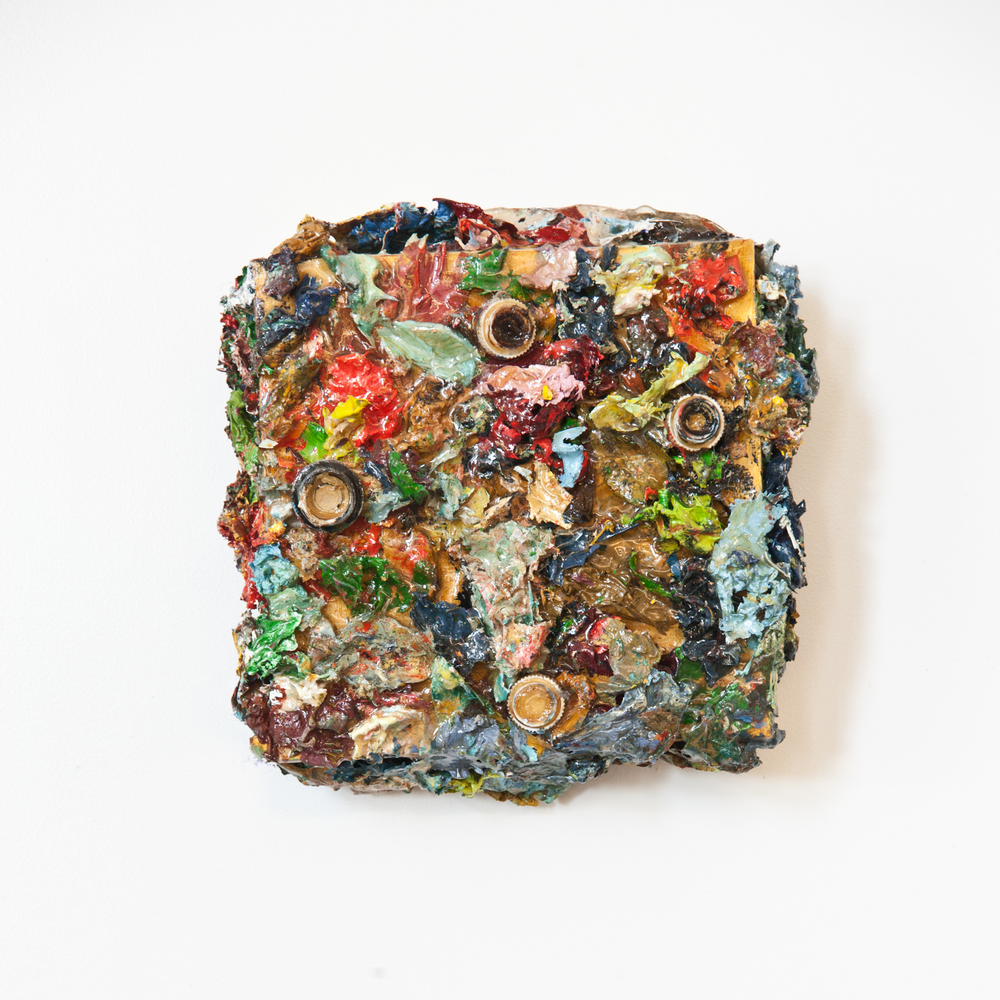 Palette Remnants #2 , Oil and resin on board, 6x6