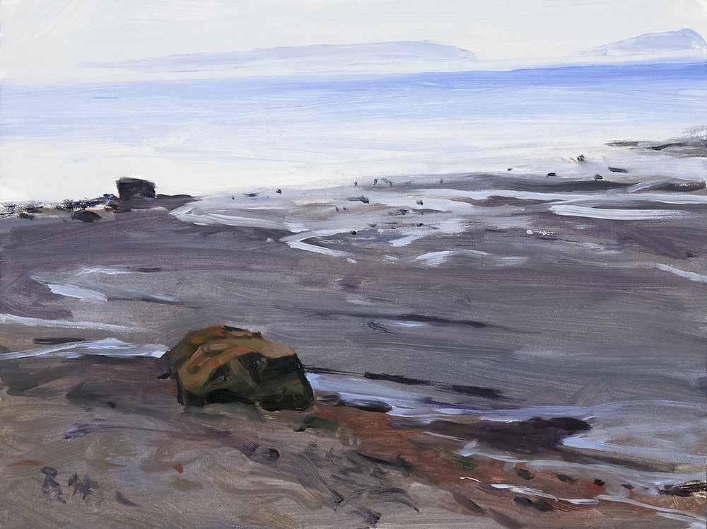 Acadia II (Rocks on Shore, Two Islands) , oil on panel, 12x16,  SOLD