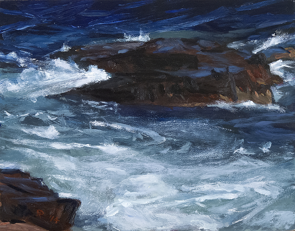 Acadia III (Two Rocks, Turbulence) , oil on p anel, 11x14,  $450  SOLD