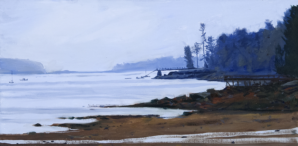 Approaching Acadia , oil on canvas, 12x24,  $900  SOLD