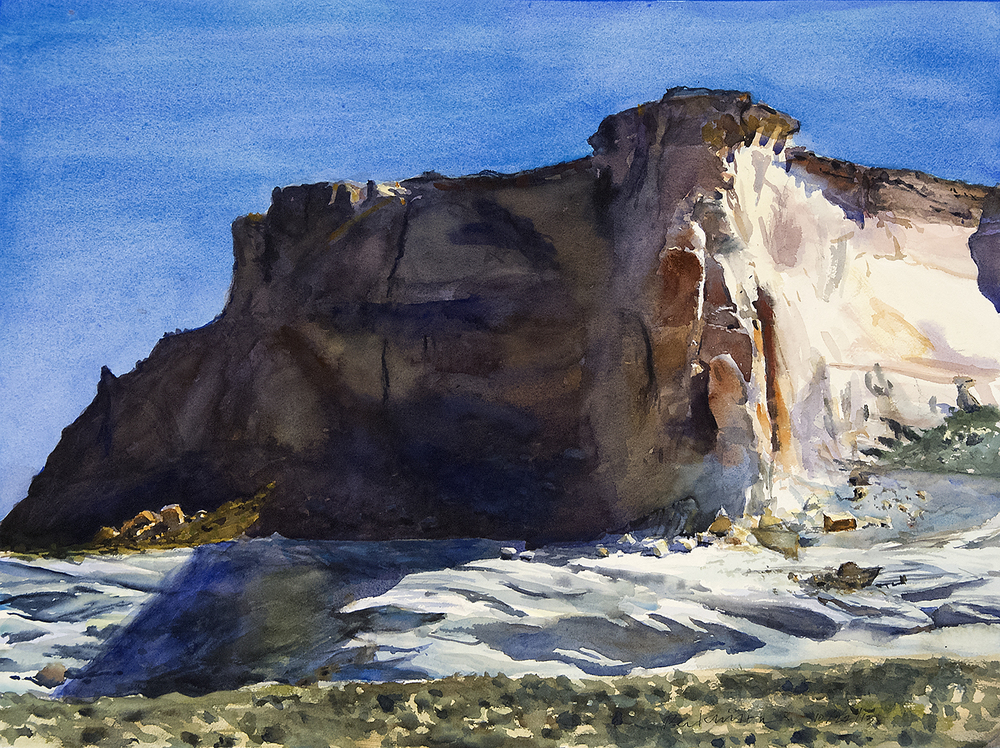 Cliffs and Shadows,  watercolor, 18x24