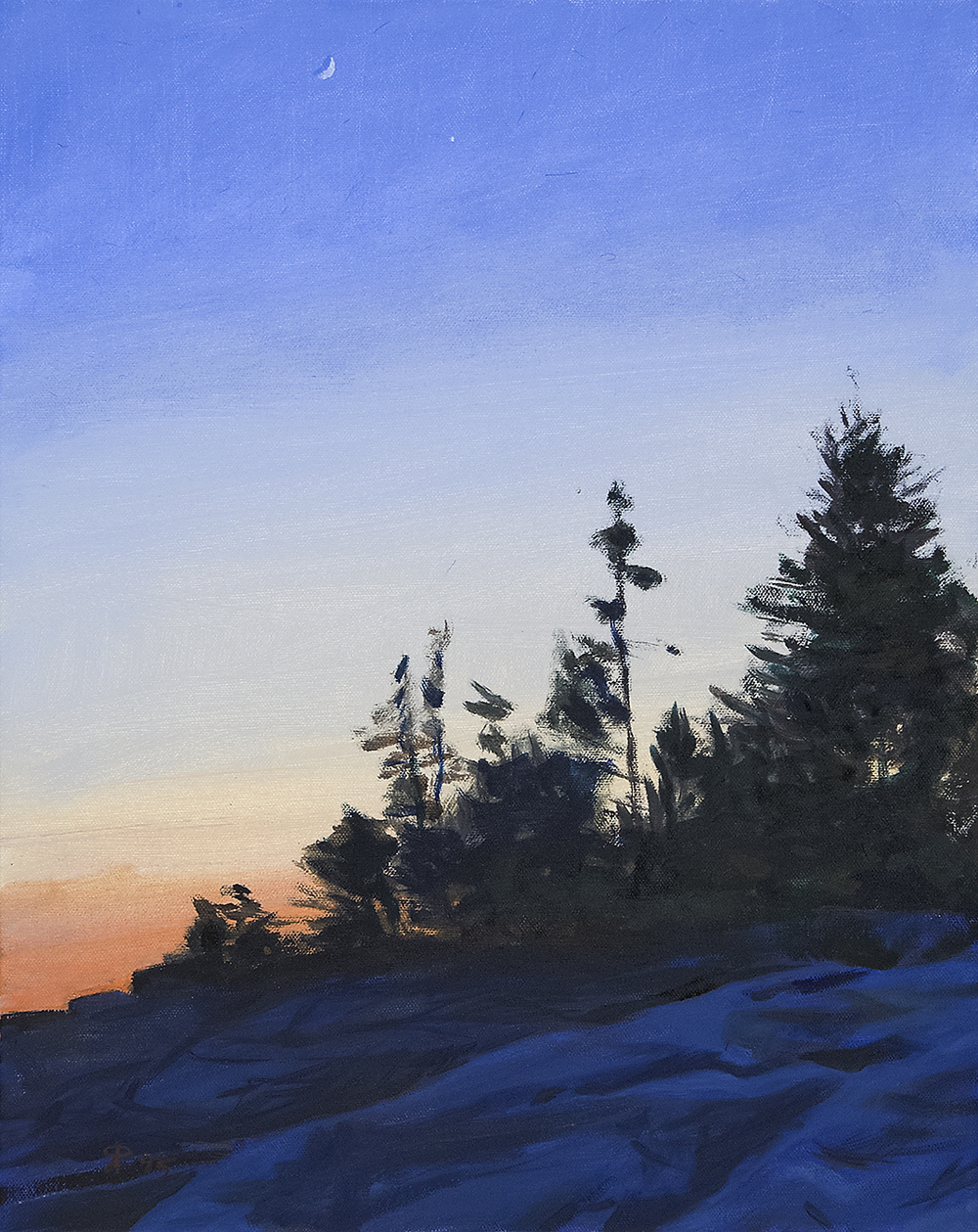 Dusk, South Shore of Island , oil on canvas, 20x16