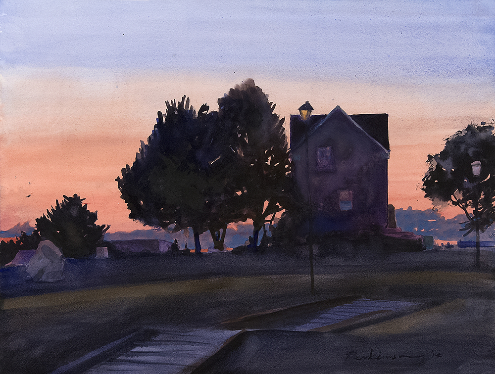 Lane House, Dusk,  watercolor, 18x24,  SOLD