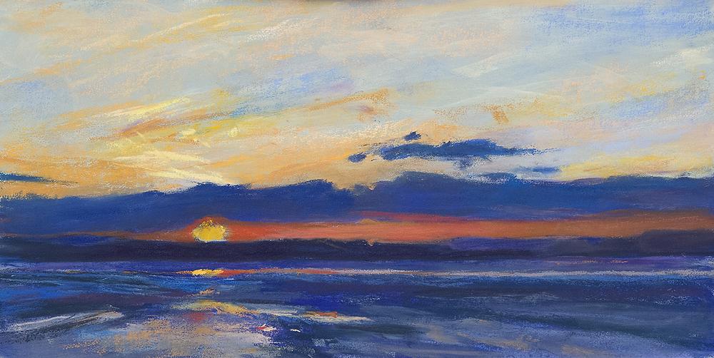 Tidal Flats at Sunset , pastel, 12x24, $900