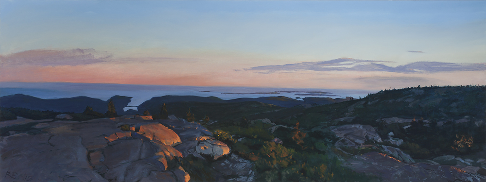 The Summit at Dusk , oil on canvas, 36x96