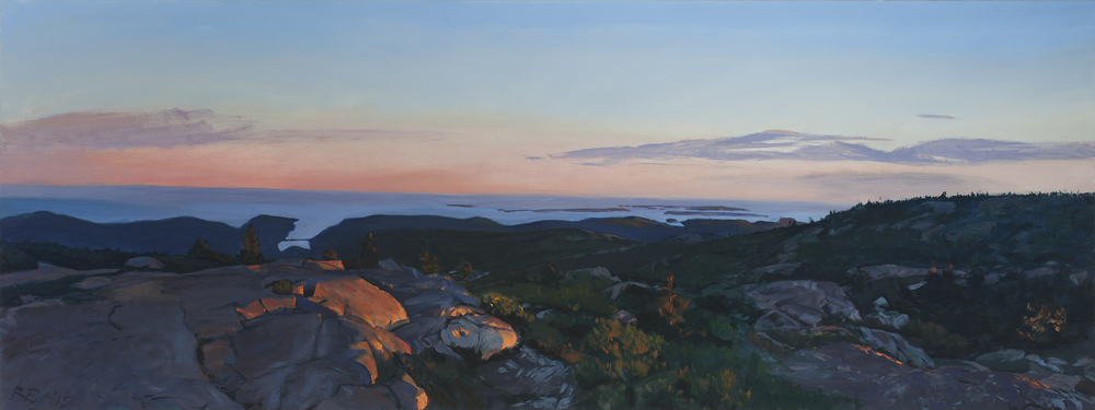"""The Summit at Dusk,"" oil on canvas, 36 x 96"""